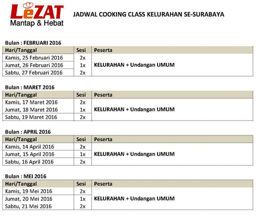 JADWAL COOKING CLASS KELURAHAN -- BG JUNCTION (Feb-Mei'16)